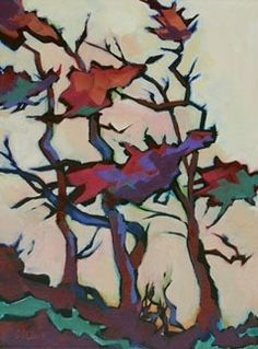 Contemporary Painting of Coastal Trees Border Dwellers, painting by artist Carolee Clark