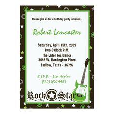 5x7 Invite - Boy Rock Star Birthday Invitation