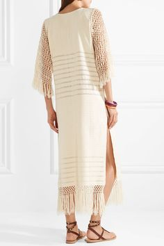 In China Cheap Online Factory Price Heidi Pointelle-knit Cotton And Macramé Coverup - Ecru Jaline PZGT5