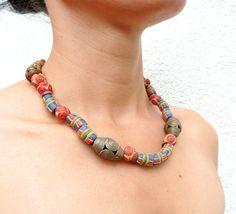 Kettingen - Afrikaanse ketting met Ghanese glaskralen (S-531a) - Een uniek product van DomesDesign op DaWanda