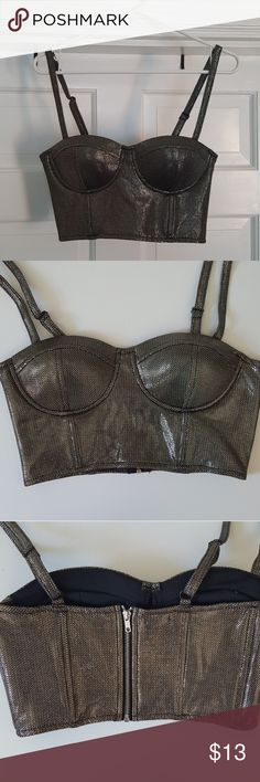 🤘 shiny cropped bustier top 🤘 Goldish/silverish bustier top, has a metallic look, size medium , Charlotte Russe , has never been worn! Charlotte Russe Tops