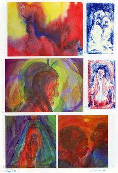 Тafel 63: Völkerkunde 01: Fig. und angedeutete Portraits (6.-8. Schuljahr) 1. angedeutete Indianer in Rot mit Federkränzen in Bl. vor rot-gelbem Hintergrund  2. rotes Gesicht seitlich von hinten mit Zöpfen und mit zwei blau-grünen Frontfedern vorn mit gelb-blau-violettem Hintergrund, der Kopf erscheint im gelblich-grünlichen Heiligenschein  3. menschenähnliche Fig. in Rot-Blau vor einem kegelförmigen Eingang in Blaugrün mit blau-violettem Hintergrund    (...)