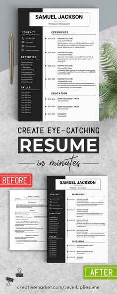 Word Resume Template CV Design by LevelUpResume on Creative Market ---CLICK IMAGE FOR MORE--- resume how to write a resume resume tips resume examples for student Basic Resume Examples, Professional Resume Examples, Simple Resume, Modern Resume, Free Professional Resume Template, Professional Cover Letter, Creative Cv Template, Resume Design Template, Resume Template Free