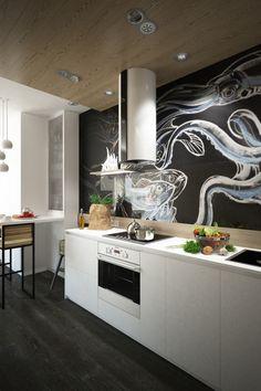 cuisine noire et bois, mobilier blanc, parquet massif en noir, mur avec de la peinture ardoise