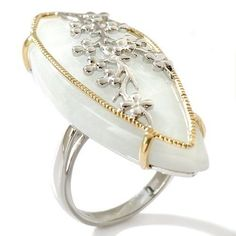 New Milky Aquamarine Sterling Silver 2-Tone Floral Overlay Ring 8 #Unbranded