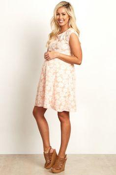 47953cc53348 Peach Floral Lace Maternity Dress Floral Maternity Dresses, Pink Blush  Maternity, Maternity Wear,
