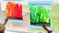 """With spring in full force and the sun finally making an appearance, now is the perfect time to break out this classic mess-free art activity. The kids will love the way the light shines through their """"stained glass"""" window paintings … Painting On Glass Windows, Stained Glass Windows, Windows Color, Diy And Crafts, Crafts For Kids, Stained Glass Cookies, Three Little Birds, Craft Wedding, Sea Glass Art"""