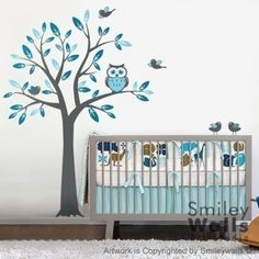 Nursery Vinyl Wall Decal - Tree with Owl and Birds Want in Turquoise, Ice Blue, and Middle Gray similar to picture