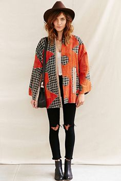 Urban Renewal Recycled Kantha Quilt Coat