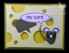 First Friday PDF of the Month. FREE PDF instructions on creating this card with Punch Art mouse & cheese. Debbie Henderson, Debbie's Designs.