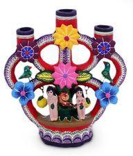 Mexican Folk Art Candleholder 'Adam and Eve Tree of Life' NOVICA Mexico