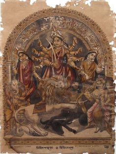 Durga 19th c. Bengali print
