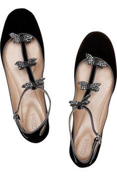 Chloé  Embellished suede T-bar ballerina flats #shoes #ballerinas