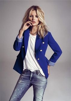 My fave...jeans and white tee. Love the bright blue blazer
