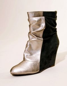 """Jeffrey Campbell metallic front and grey suede back two tone wedge with ruched slouchy front. 4"""" covered wedge. 100% upper leather! Yes PLEASE! $165 And such a great price too!"""