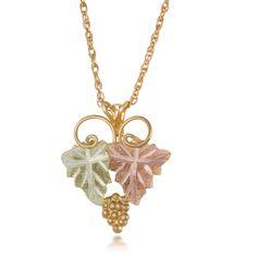 Black hills gold horseshoe diamond pendant necklace black hills black hills gold traditional leaves pendant necklace aloadofball Gallery