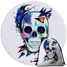 Rond bleu jean et blanc Microfibre Serviette de plage avec crâne//Fleur Design