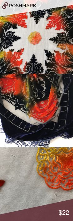 Silk velvet burnout shawl scarf orange blue boho Beautiful burnout velvet Boho scarf. Very soft, 100% silk. Sheer with velvety areas. Paisley type geometric pattern with fringe. Navy blue, orange, yellow/green chartreuse. Good condition, a few small areas to note on sheer material since it's so delicate. Not holes, but see photo. Perfect for an evening cover up at the beach for dinner or for a night out, or prom! Measures approximately 42X42 not including fringe. unbranded Accessories…