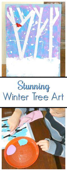 Tape resist magazine art. Such a pretty winter art project for kids