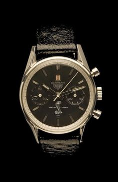 Circa 1967 Heuer.  The watch was specially made for the Shelby Cobra race team.