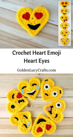Crochet Emoji, Tears of Joy, Free Crochet Pattern, Valentines Crochet This Tears of Joy Crochet Emoji is number two in the series of six. This Emoji is also known as the Laughing Emoji. This Emoji is laughing so much that it is crying tears of joy. Marque-pages Au Crochet, Appliques Au Crochet, Beau Crochet, Crochet Puff Flower, Crochet Amigurumi, Crochet Flower Patterns, Love Crochet, Crochet Gifts, Beautiful Crochet