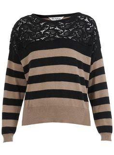 Lace Insert Stripe Jumper - Knitwear  - Clothing