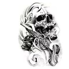 3D Waterproof Skull Tattoo Arm Temporary skull tattoo stickers flower ...