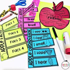 Apple Activities for math, science, and 5 senses for 1st and 2nd grade