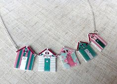 Green floral beach huts necklace by Ohyouprettythings77 on Etsy, £10.00