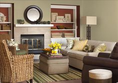 Same paint colour as the office with brown and yellow accents. Better Homes and Gardens - Providence Olive and Rustique