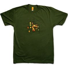 """HUNG SHOES men's olive t-shirt - """"...The self-proclaimed hero grinned slightly with pride while fastening the laces together. Then, with a quick swing, the shoes were heaved and released into the night, with only the small reflectors to guide them towards their electric target."""" 100% Fine Jersey cotton."""