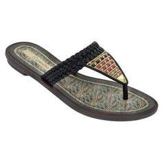 Grendha Women's Silvestre Thong Sandal-Black-Size 6