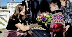 Crown Princess Mary with the children during her first day in Greenland on…