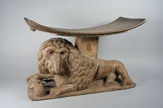 Prestige Stool: Lion Base.  Date:     19th century. Geography:     Ghana. Culture:     Akan peoples. Medium:     Wood.