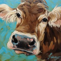 Cow Painting 6x6 inch original oil painting of a Cow by LaveryART