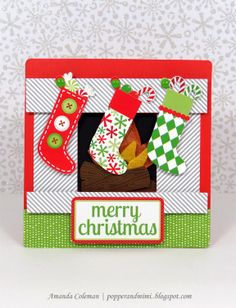 Popper & Mimi Paper Crafts: Fireplace Stockings Christmas Card