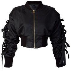 storets Eviana Bow Sleeve Cropped Bomber Jacket (3.230 UYU) ❤ liked on Polyvore featuring outerwear, jackets, tops, sleeve jacket, storets, bow jacket, cropped jacket and flight jackets