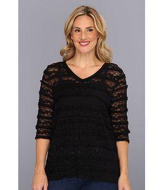Karen Kane Plus Plus Size V Neck Lace Ruffle Top Black - Zappos.com Free Shipping BOTH Ways