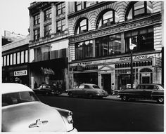 """Boston: From MIT's remarkable Kepes-Lynch collection, a photo survey of Boston, circa 1955. """"Interview Series, Boylston Street Between Berkeley and Arlington Streets, W. W. Winship and American Express, from across Street 