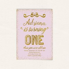 First birthday birthday invitation gold and purple Birthday