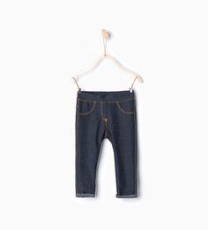 DENIM PLUSH LEGGINGS-Jeans-Baby girl-Baby | 3 months - 3 years-KIDS | ZARA United States