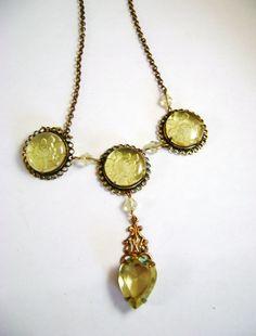 Art Deco Intaglio  Pale Yellow Czech Glass Necklace on Etsy, $150.00