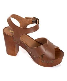 Another great find on #zulily! Brown Wood High-Heel Sandal by Bamboo #