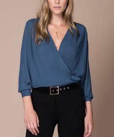 Loving this Petrol Surplice Top on #zulily! #zulilyfinds