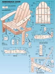 Classic Adirondack Chair Plans - Outdoor Furniture Plans and Projects - Woodwork, Woodworking, Woodworking Plans, Woodworking Projects Pallet Crafts, Pallet Projects, Wood Crafts, Diy Wood, Diy Crafts, Pallet Furniture, Furniture Projects, Furniture Plans, Adirondack Furniture
