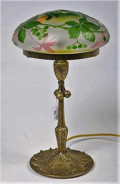 Val Saint Lambert Art Nouveau Table Lamp.
