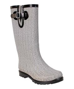 This Gray & White Herringbone Puddles Rain Boot by Nomad Footwear is perfect! #zulilyfinds