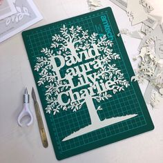 All finished! Here's the finished family tree cut by hand for my giveaway winner. Papercutting, Giveaway, Workshop, It Is Finished, Design, Atelier, Work Shop Garage, Cut Paper Art