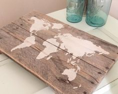 Rustic Wooden World Map  Made from Reclaimed Pallet Boards