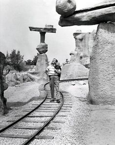 """Rarely seen images from the Walt Disney Archives Walt Disney pauses amidst the """"tilted rocks"""" of the Rainbow Caverns Mine Train attraction. Disney Theme, Disney Love, Disney Magic, Disney Disney, Disney Stuff, Disney Couples, Disney Cruise, Disney Parks, Walt Disney World"""